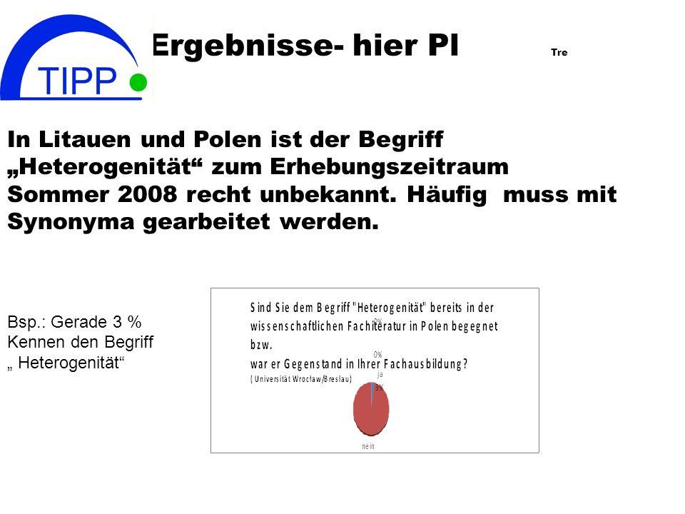 Ergebnisse- hier Pl Tre In Litauen und Polen ist der Begriff Heterogenität zum Erhebungszeitraum Sommer 2008 recht unbekannt.