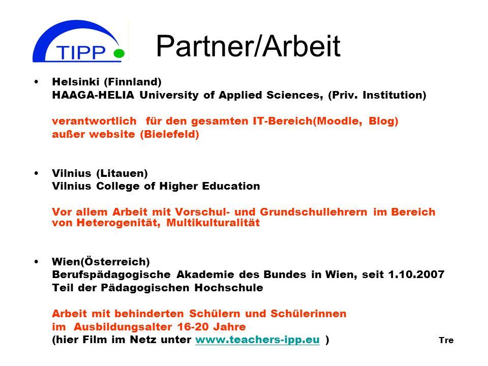 Partner/Arbeit Helsinki (Finnland) HAAGA-HELIA University of Applied Sciences, (Priv.