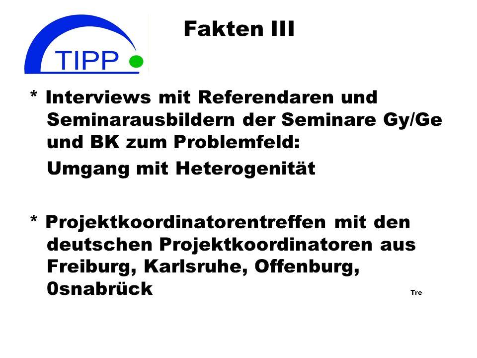 Fakten II Arbeitstreffen der Bielefelder Gruppe (Flottmann, Grygier, Hilgers, Trenner) seit Beginn des Projektes 1.10.2007 etwa 45 Treffen jeweils 3-5