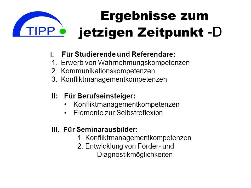 Ergebnisse zum jetzigen Zeitpunkt -D I. Für Studierende und Referendare: 1.Erwerb von Wahrnehmungskompetenzen 2.Kommunikationskompetenzen 3.Konfliktma