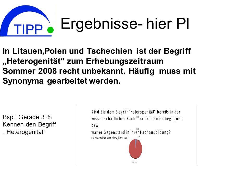 Ergebnisse- hier Pl In Litauen,Polen und Tschechien ist der Begriff Heterogenität zum Erhebungszeitraum Sommer 2008 recht unbekannt. Häufig muss mit S
