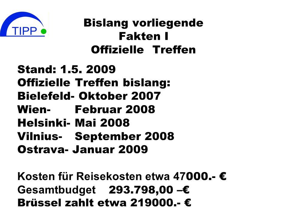 Bislang vorliegende Fakten I Offizielle Treffen Stand: 1.5. 2009 Offizielle Treffen bislang: Bielefeld- Oktober 2007 Wien-Februar 2008 Helsinki-Mai 20