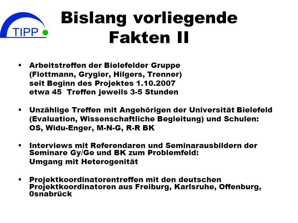 Bislang vorliegende Fakten II Arbeitstreffen der Bielefelder Gruppe (Flottmann, Grygier, Hilgers, Trenner) seit Beginn des Projektes 1.10.2007 etwa 45