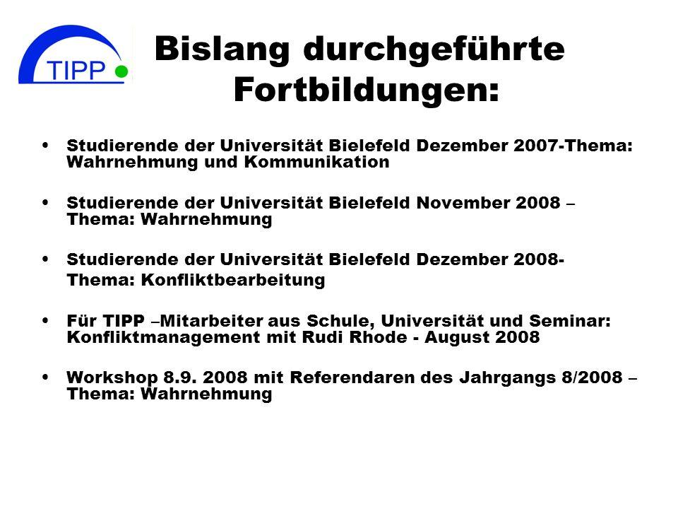 Studierende der Universität Bielefeld Dezember 2007-Thema: Wahrnehmung und Kommunikation Studierende der Universität Bielefeld November 2008 – Thema: