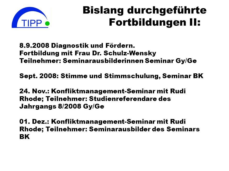 Bislang durchgeführte Fortbildungen II: 8.9.2008 Diagnostik und Fördern. Fortbildung mit Frau Dr. Schulz-Wensky Teilnehmer: Seminarausbilderinnen Semi