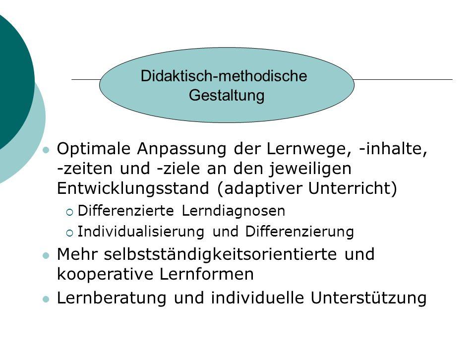 Optimale Anpassung der Lernwege, -inhalte, -zeiten und -ziele an den jeweiligen Entwicklungsstand (adaptiver Unterricht) Differenzierte Lerndiagnosen