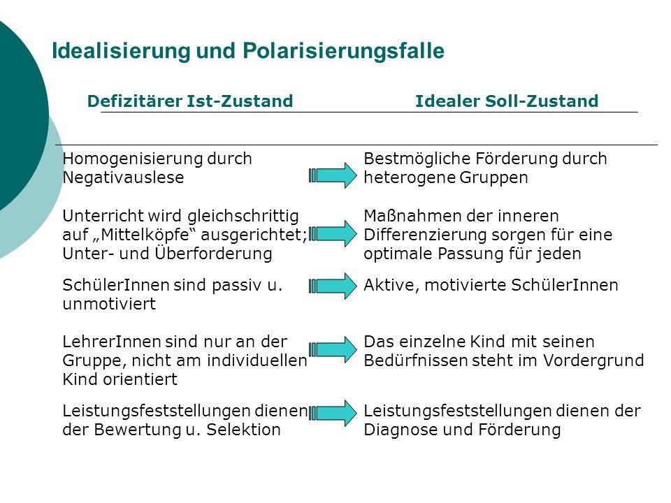 Idealisierung und Polarisierungsfalle Defizitärer Ist-ZustandIdealer Soll-Zustand Homogenisierung durch Negativauslese Bestmögliche Förderung durch he