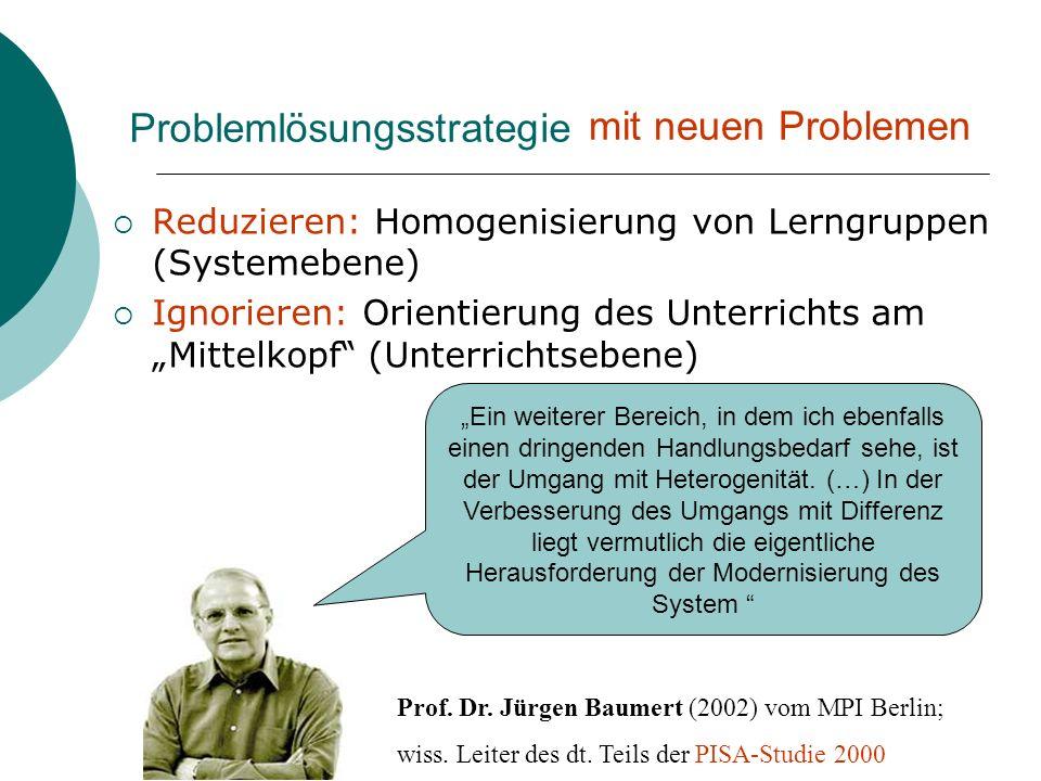 Problemlösungsstrategie Reduzieren: Homogenisierung von Lerngruppen (Systemebene) Ignorieren: Orientierung des Unterrichts am Mittelkopf (Unterrichtse