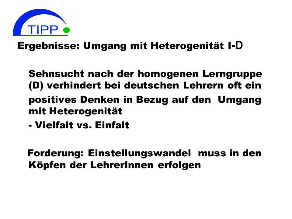 Ergebnisse: Umgang mit Heterogenität I -D Sehnsucht nach der homogenen Lerngruppe (D) verhindert bei deutschen Lehrern oft ein positives Denken in Bez