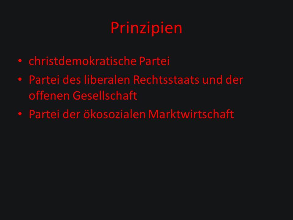 Prinzipien christdemokratische Partei Partei des liberalen Rechtsstaats und der offenen Gesellschaft Partei der ökosozialen Marktwirtschaft