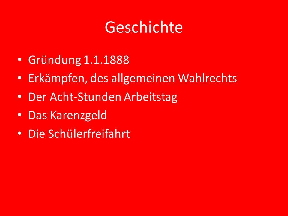 Geschichte Gründung 1.1.1888 Erkämpfen, des allgemeinen Wahlrechts Der Acht-Stunden Arbeitstag Das Karenzgeld Die Schülerfreifahrt