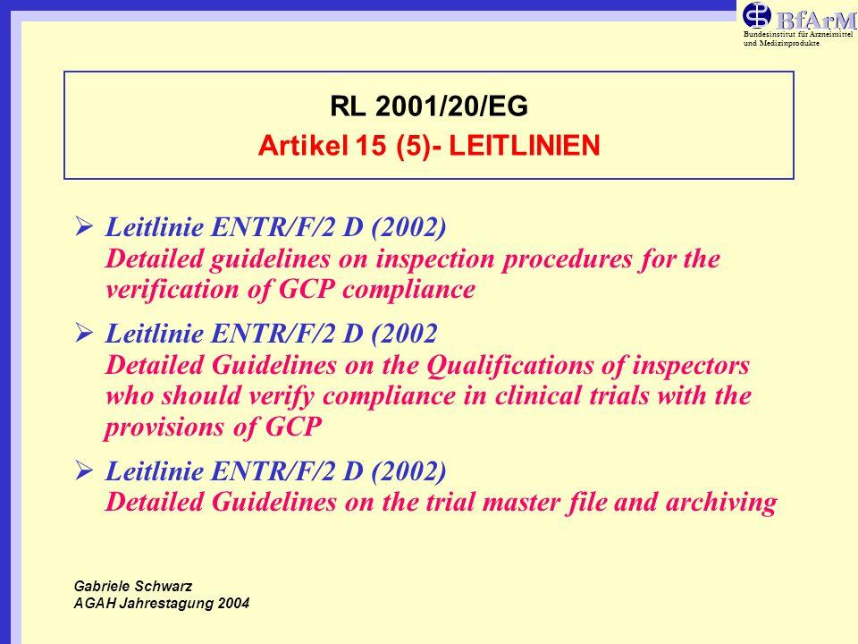 Bundesinstitut für Arzneimittel und Medizinprodukte RL 2001/20/EG Artikel 15 (5)- LEITLINIEN Leitlinie ENTR/F/2 D (2002) Detailed guidelines on inspec