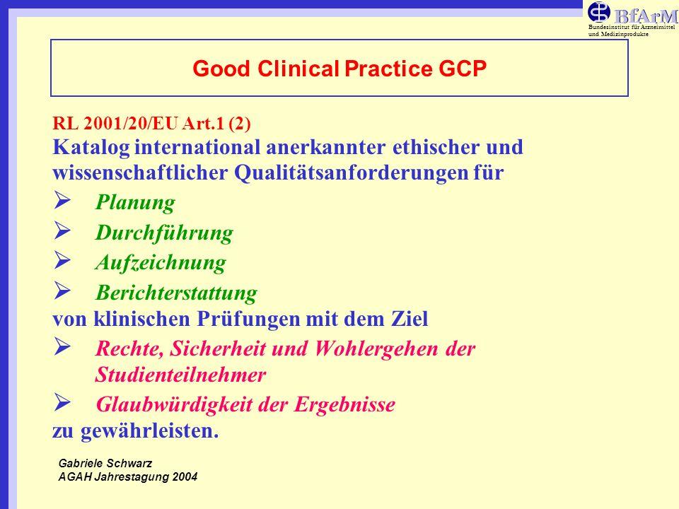 Bundesinstitut für Arzneimittel und Medizinprodukte Good Clinical Practice GCP RL 2001/20/EU Art.1 (2) Katalog international anerkannter ethischer und