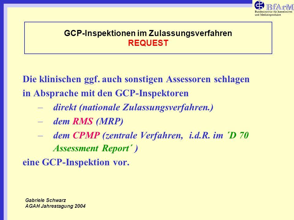 Bundesinstitut für Arzneimittel und Medizinprodukte GCP-Inspektionen im Zulassungsverfahren REQUEST Die klinischen ggf. auch sonstigen Assessoren schl