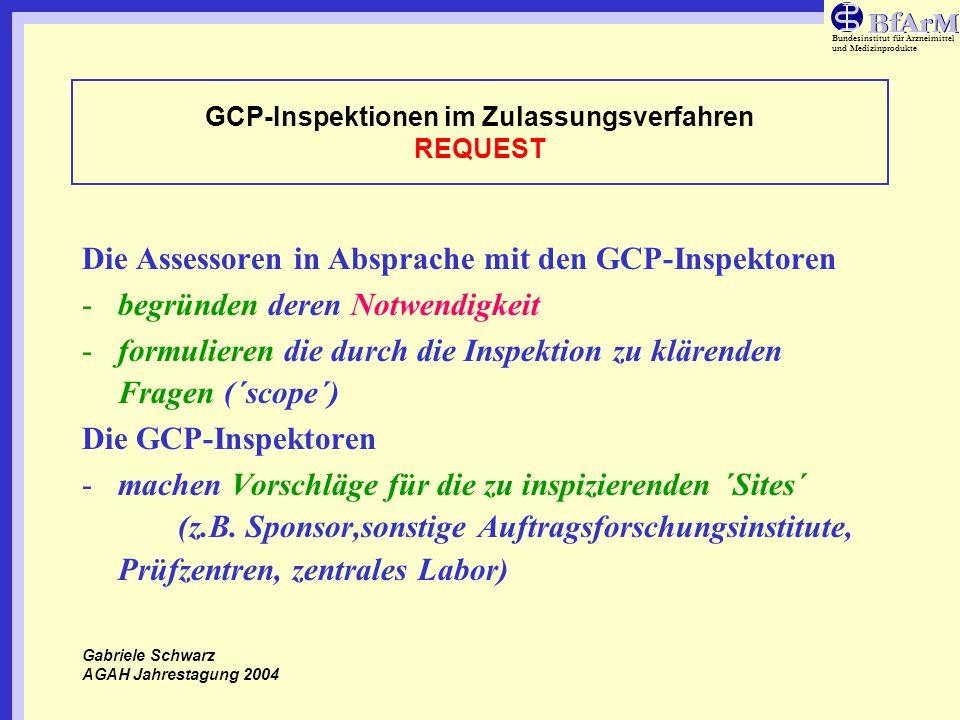 Bundesinstitut für Arzneimittel und Medizinprodukte GCP-Inspektionen im Zulassungsverfahren REQUEST Die Assessoren in Absprache mit den GCP-Inspektore