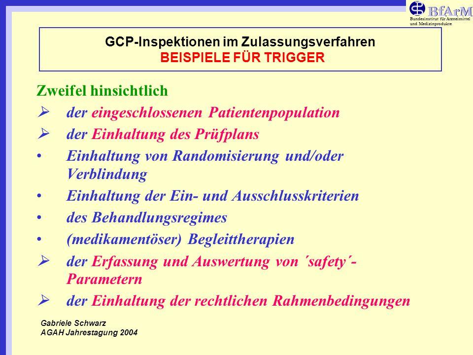 Bundesinstitut für Arzneimittel und Medizinprodukte GCP-Inspektionen im Zulassungsverfahren BEISPIELE FÜR TRIGGER Zweifel hinsichtlich der eingeschlos