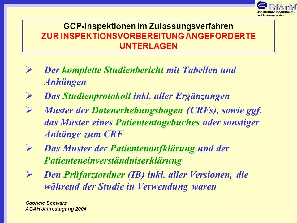 Bundesinstitut für Arzneimittel und Medizinprodukte GCP-Inspektionen im Zulassungsverfahren ZUR INSPEKTIONSVORBEREITUNG ANGEFORDERTE UNTERLAGEN Der ko