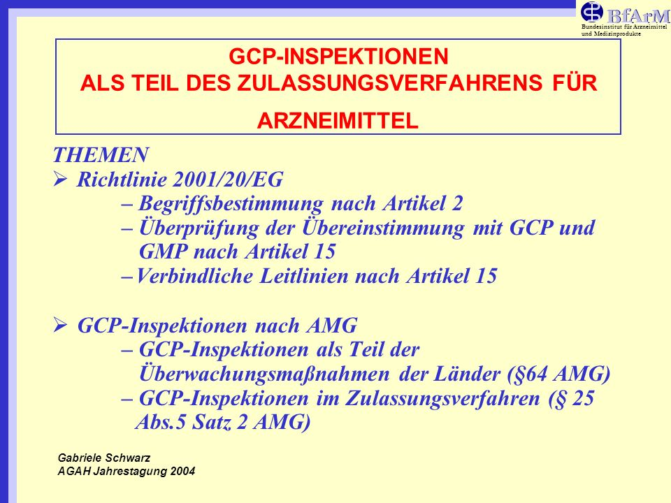 Bundesinstitut für Arzneimittel und Medizinprodukte GCP-INSPEKTIONEN ALS TEIL DES ZULASSUNGSVERFAHRENS FÜR ARZNEIMITTEL THEMEN (Fortsetzung) GCP-Inspektionen im Zulassungsverfahren –REQUEST –ANGEFORDERTE UNTERLAGEN –SPEZIFISCHE FRAGESTELLUNGEN (´SCOPE´) –INSPEKTIONSDURCHFÜHRUNG-SPONSOR –INSPEKTIONSDURCHFÜHRUNG-PRÜFZENTRUM –INSPEKTIONSBERICHT –BEWERTUNG VON FINDINGS –TIMELINES IM ZENTRALEN VERFAHREN Gabriele Schwarz AGAH Jahrestagung 2004