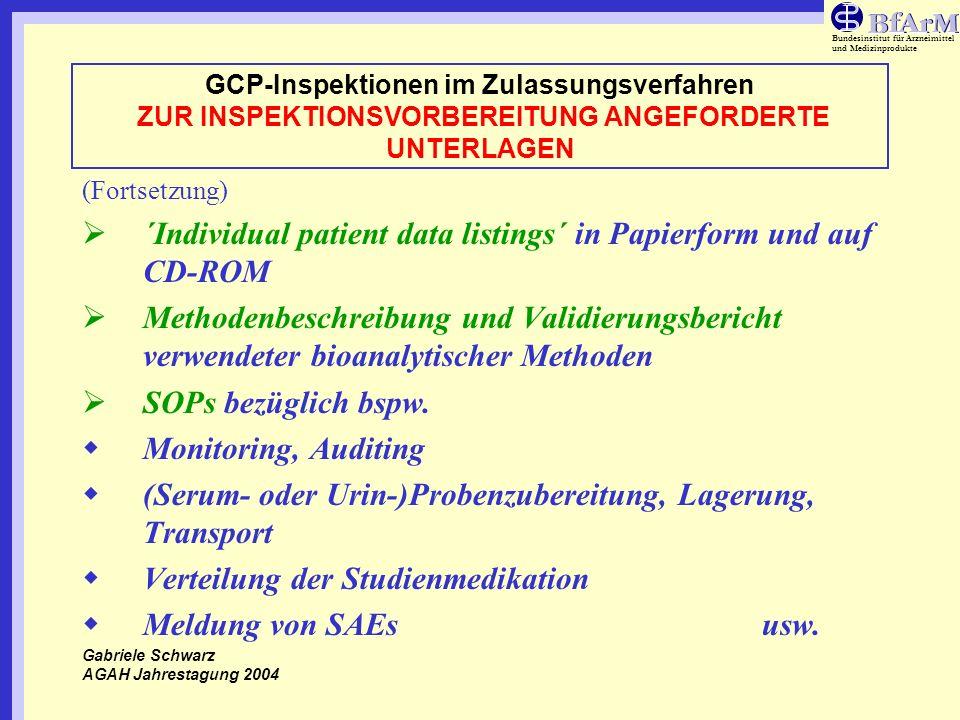 Bundesinstitut für Arzneimittel und Medizinprodukte GCP-Inspektionen im Zulassungsverfahren ZUR INSPEKTIONSVORBEREITUNG ANGEFORDERTE UNTERLAGEN (Forts