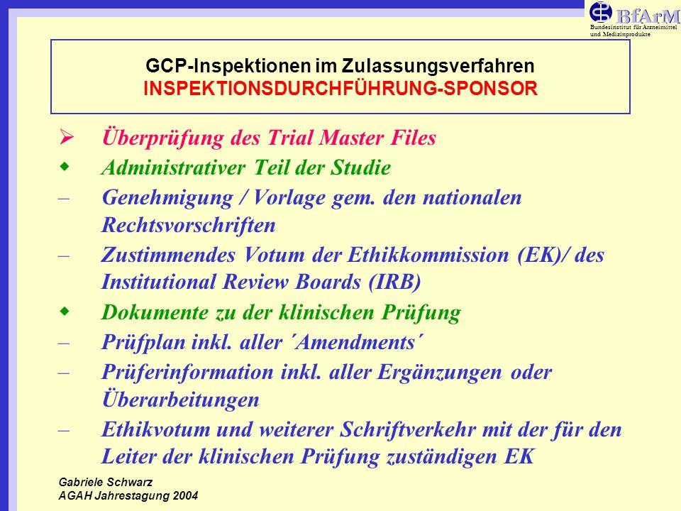 Bundesinstitut für Arzneimittel und Medizinprodukte GCP-Inspektionen im Zulassungsverfahren INSPEKTIONSDURCHFÜHRUNG-SPONSOR Überprüfung des Trial Mast