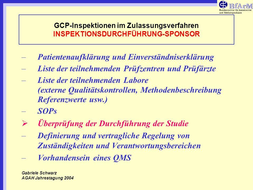 Bundesinstitut für Arzneimittel und Medizinprodukte GCP-Inspektionen im Zulassungsverfahren INSPEKTIONSDURCHFÜHRUNG-SPONSOR –Patientenaufklärung und E