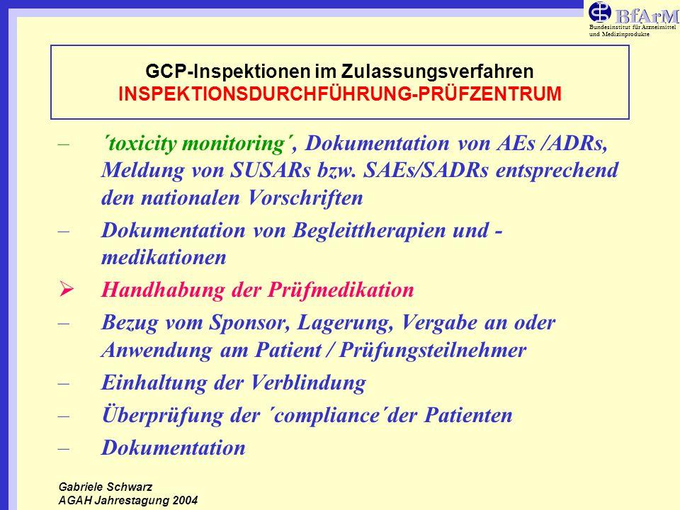 Bundesinstitut für Arzneimittel und Medizinprodukte GCP-Inspektionen im Zulassungsverfahren INSPEKTIONSDURCHFÜHRUNG-PRÜFZENTRUM –´toxicity monitoring´