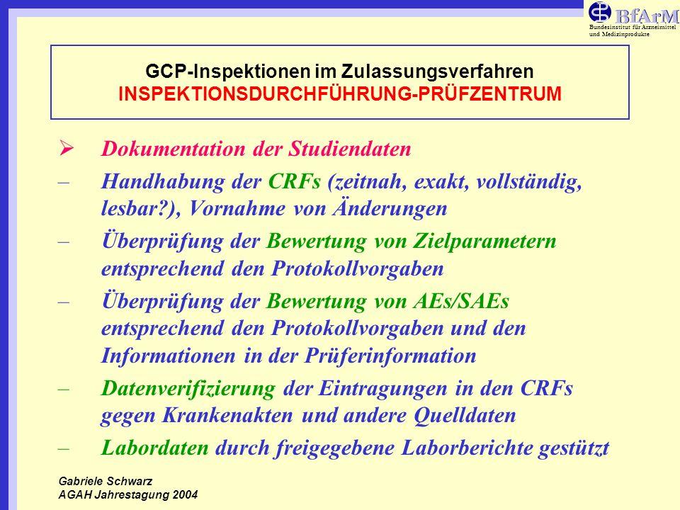 Bundesinstitut für Arzneimittel und Medizinprodukte GCP-Inspektionen im Zulassungsverfahren INSPEKTIONSDURCHFÜHRUNG-PRÜFZENTRUM Dokumentation der Stud