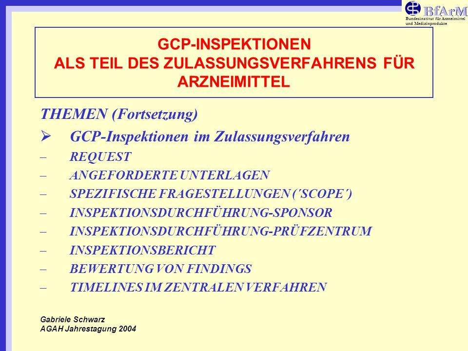 Bundesinstitut für Arzneimittel und Medizinprodukte GCP-INSPEKTIONEN ALS TEIL DES ZULASSUNGSVERFAHRENS FÜR ARZNEIMITTEL THEMEN (Fortsetzung) GCP-Inspe