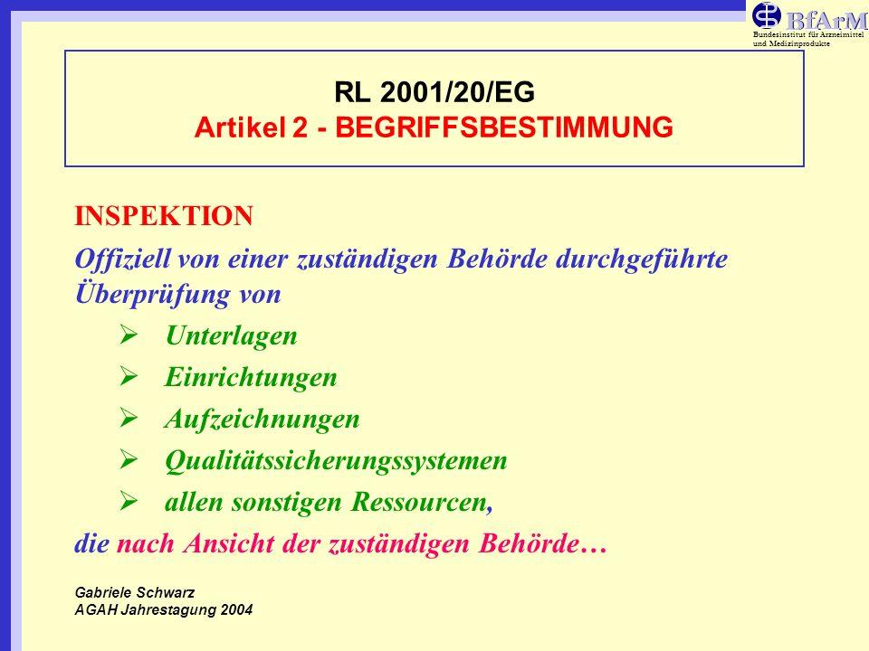Bundesinstitut für Arzneimittel und Medizinprodukte RL 2001/20/EG Artikel 2 - BEGRIFFSBESTIMMUNG …im Zusammenhang mit der klinischen Prüfung stehen und die sich in der / den Prüfstelle(n) den Einrichtungen des Sponsors und/oder des Auftragsforschungsinstitutes sonstigen Einrichtungen befinden können, die nach dem Dafürhalten der zuständigen Behörde inspiziert werden sollen.