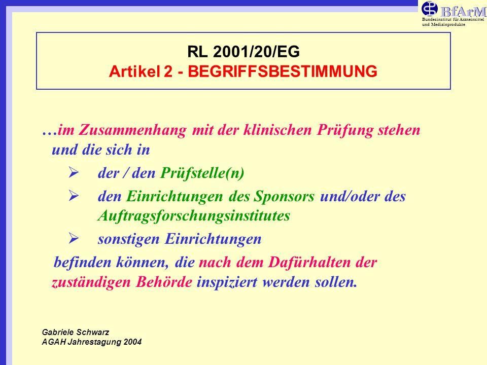 Bundesinstitut für Arzneimittel und Medizinprodukte RL 2001/20/EG Artikel 2 - BEGRIFFSBESTIMMUNG …im Zusammenhang mit der klinischen Prüfung stehen un
