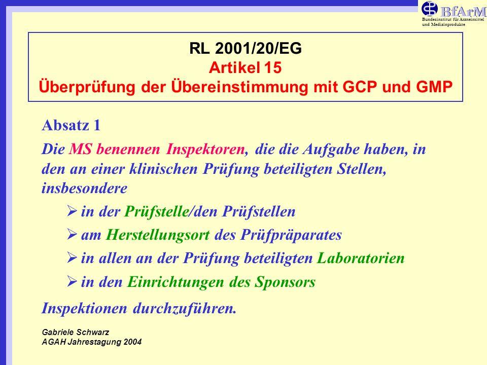 Bundesinstitut für Arzneimittel und Medizinprodukte RL 2001/20/EG Artikel 15 Überprüfung der Übereinstimmung mit GCP und GMP Absatz 1 (Fortsetzung) Für die Inspektion sorgt die zuständige Behörde des betreffenden MS, die die EMEA informiert.