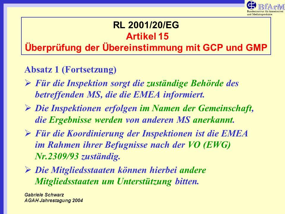 Bundesinstitut für Arzneimittel und Medizinprodukte RL 2001/20/EG Artikel 15 Überprüfung der Übereinstimmung mit GCP und GMP Absatz 3-ERNEUTE INSPEKTIONSANFORDERUNG Die Kommission kann auf Antrag der Agentur im Rahmen der Befugnisse nach der VO (EWG) Nr.2309/93 auf Antrag eines betroffenen MS nach Konsultation der betreffenden MS eine erneute Inspektion anfordern, wenn die Überprüfung der Einhaltung dieser Richtlinie Unterschiede zwischen den einzelnen MS zeigen.