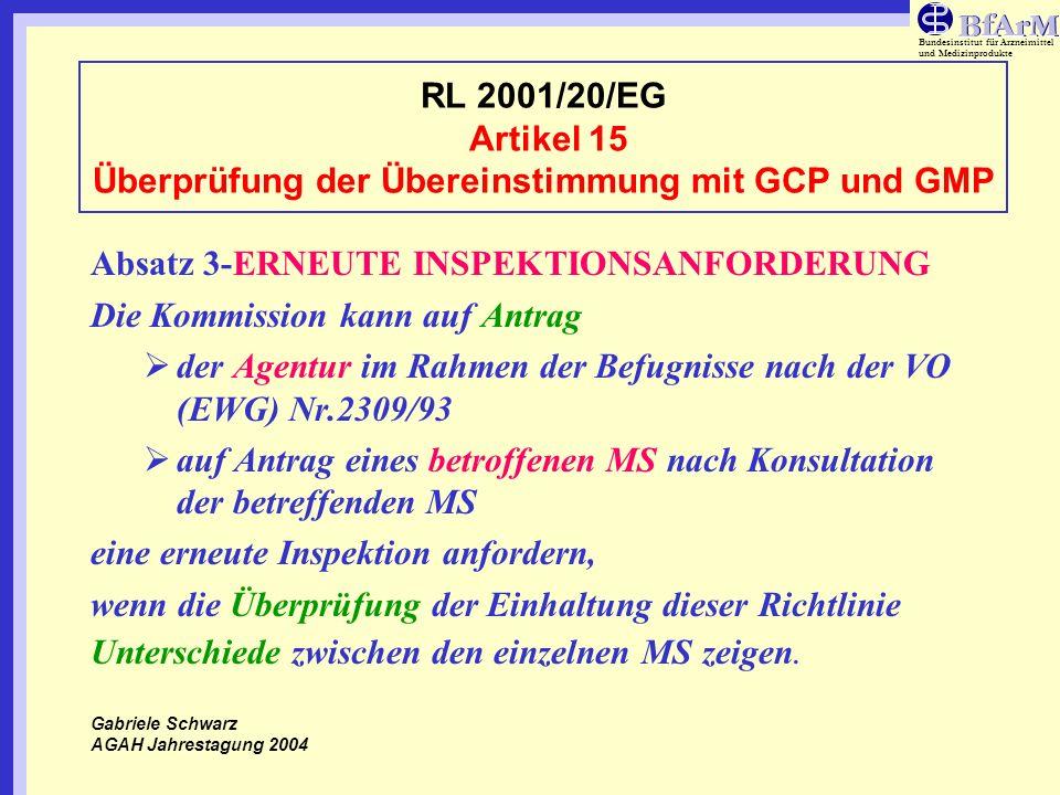 Bundesinstitut für Arzneimittel und Medizinprodukte RL 2001/20/EG Artikel 15 Überprüfung der Übereinstimmung mit GCP und GMP Absatz 3-ERNEUTE INSPEKTI