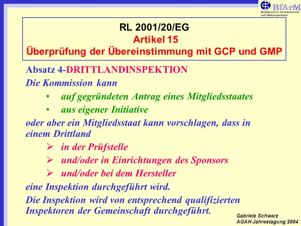 Bundesinstitut für Arzneimittel und Medizinprodukte RL 2001/20/EG Artikel 15 (5)- LEITLINIEN Leitlinie ENTR/F/2 D (2002) Detailed guidelines on inspection procedures for the verification of GCP compliance Leitlinie ENTR/F/2 D (2002 Detailed Guidelines on the Qualifications of inspectors who should verify compliance in clinical trials with the provisions of GCP Leitlinie ENTR/F/2 D (2002) Detailed Guidelines on the trial master file and archiving Gabriele Schwarz AGAH Jahrestagung 2004