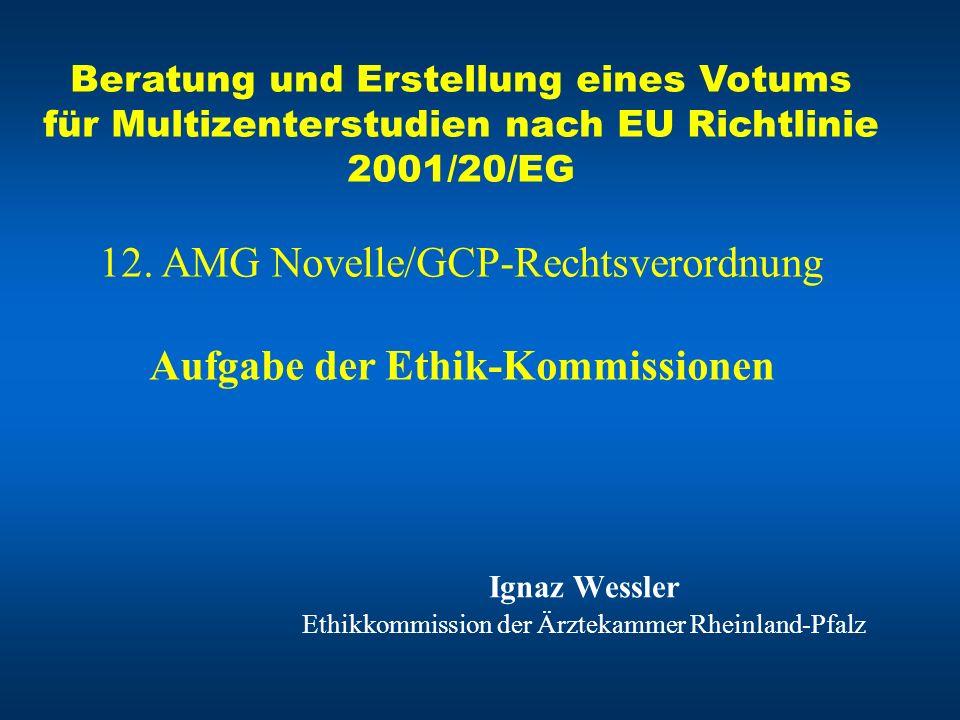 Ignaz Wessler Ethikkommission der Ärztekammer Rheinland-Pfalz Beratung und Erstellung eines Votums für Multizenterstudien nach EU Richtlinie 2001/20/E