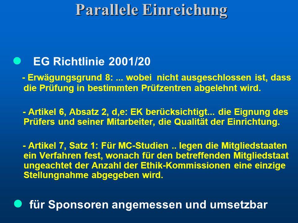 Parallele Einreichung EG Richtlinie 2001/20 - Erwägungsgrund 8:... wobei nicht ausgeschlossen ist, dass die Prüfung in bestimmten Prüfzentren abgelehn