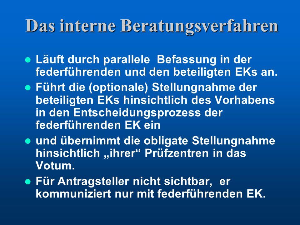 Das interne Beratungsverfahren Läuft durch parallele Befassung in der federführenden und den beteiligten EKs an. Führt die (optionale) Stellungnahme d