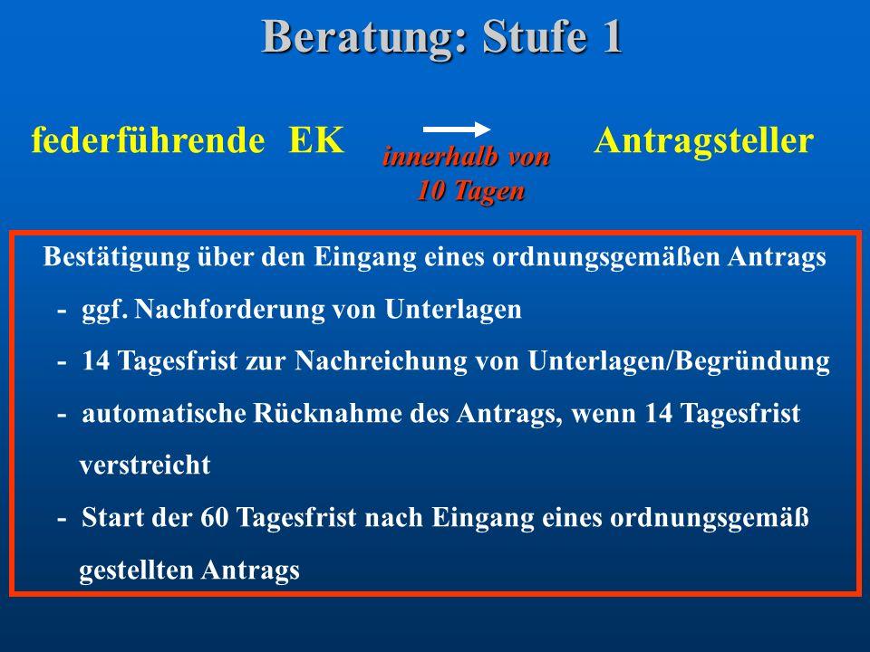 Beratung: Stufe 1 federführende EK Antragsteller Bestätigung über den Eingang eines ordnungsgemäßen Antrags - ggf. Nachforderung von Unterlagen - 14 T