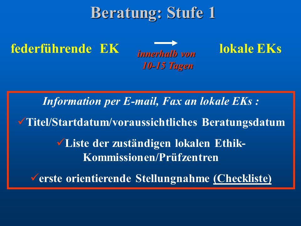 Beratung: Stufe 1 federführende EK lokale EKs Information per E-mail, Fax an lokale EKs : Titel/Startdatum/voraussichtliches Beratungsdatum Liste der