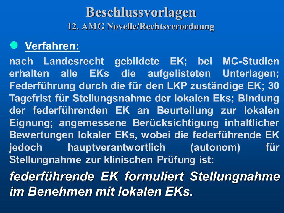 Beschlussvorlagen 12. AMG Novelle/Rechtsverordnung Verfahren: nach Landesrecht gebildete EK; bei MC-Studien erhalten alle EKs die aufgelisteten Unterl