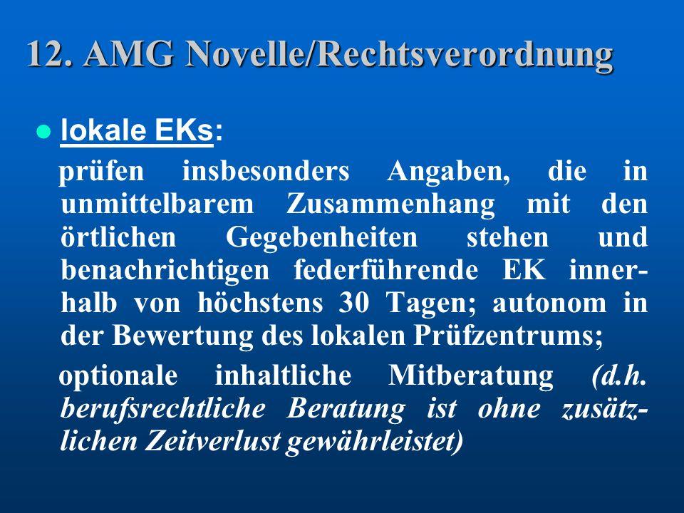 12. AMG Novelle/Rechtsverordnung lokale EKs: prüfen insbesonders Angaben, die in unmittelbarem Zusammenhang mit den örtlichen Gegebenheiten stehen und