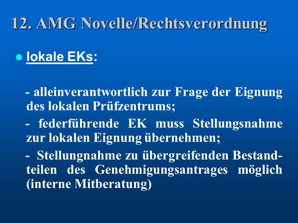 12. AMG Novelle/Rechtsverordnung lokale EKs: - alleinverantwortlich zur Frage der Eignung des lokalen Prüfzentrums; - federführende EK muss Stellungsn