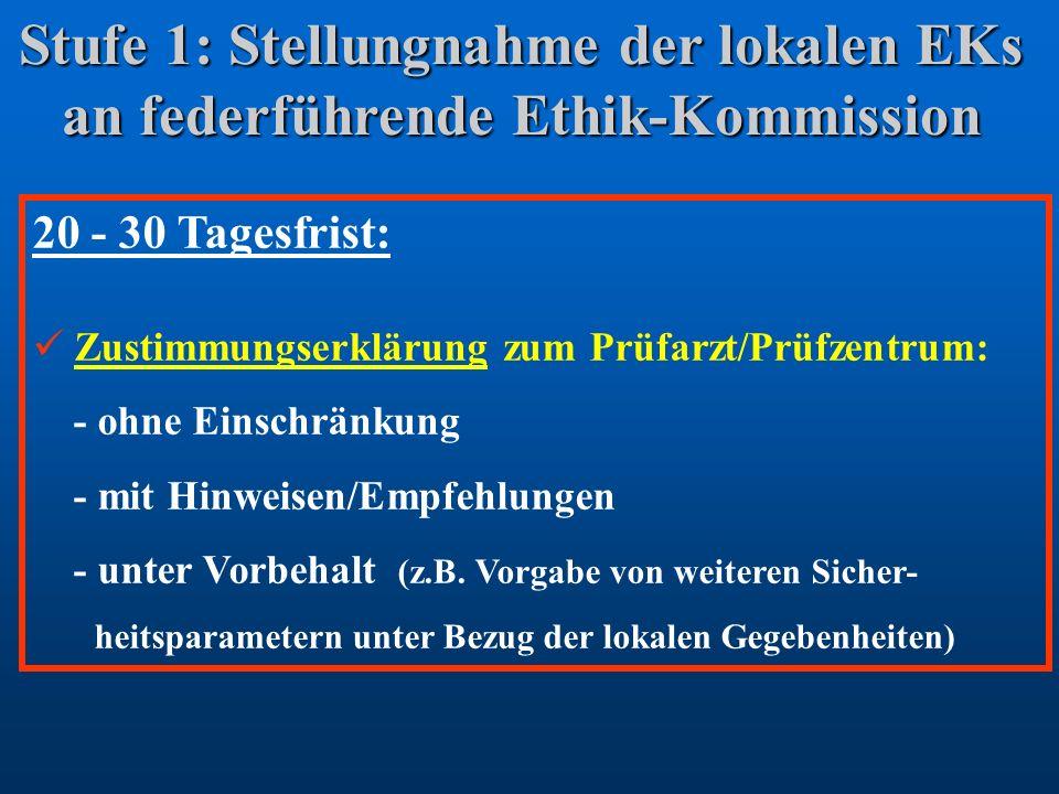 Stufe 1: Stellungnahme der lokalen EKs an federführende Ethik-Kommission 20 - 30 Tagesfrist: Zustimmungserklärung zum Prüfarzt/Prüfzentrum: - ohne Ein