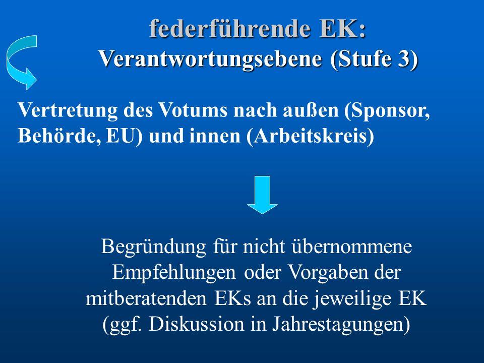 federführende EK: Verantwortungsebene (Stufe 3) Vertretung des Votums nach außen (Sponsor, Behörde, EU) und innen (Arbeitskreis) Begründung für nicht