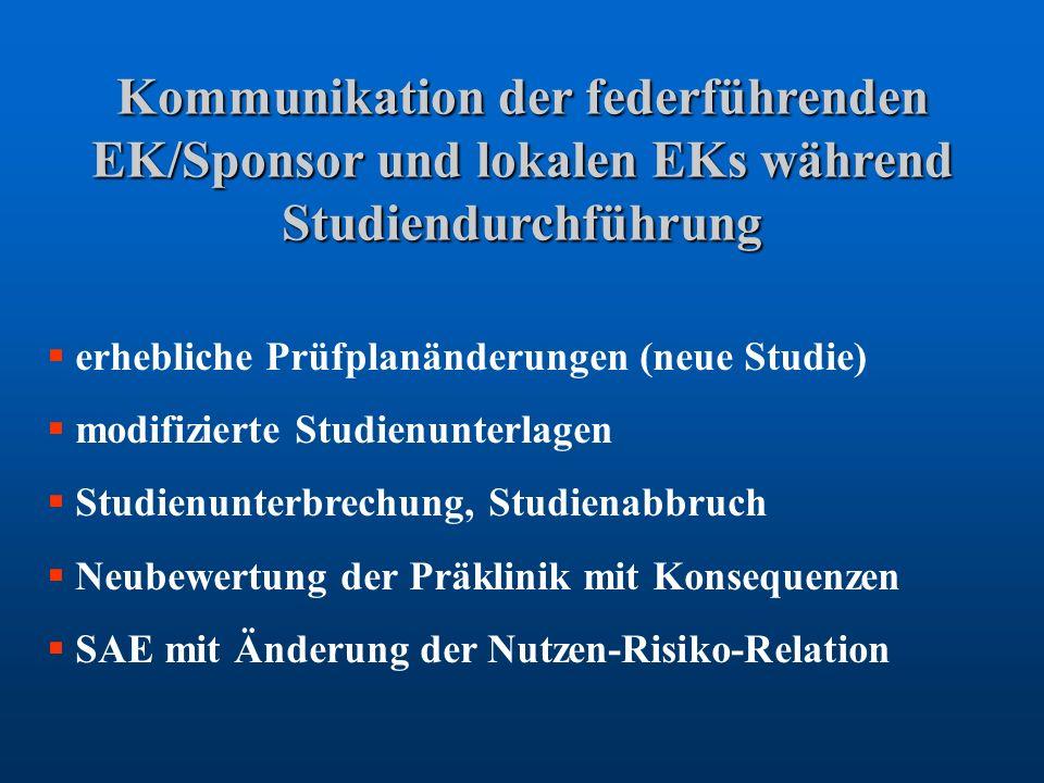 Kommunikation der federführenden EK/Sponsor und lokalen EKs während Studiendurchführung erhebliche Prüfplanänderungen (neue Studie) modifizierte Studi