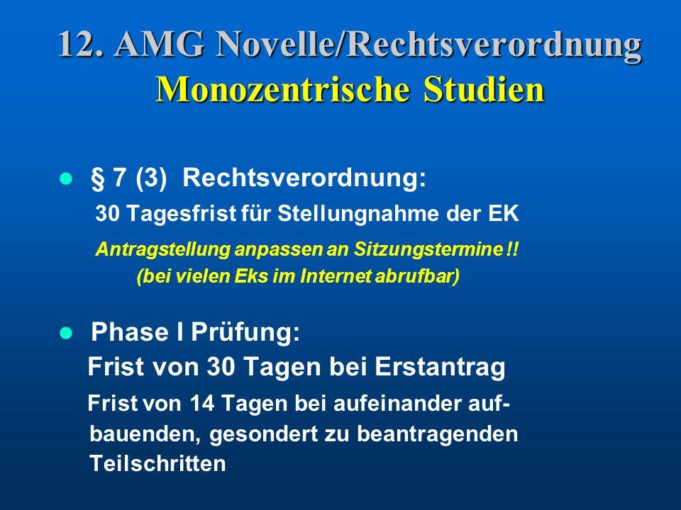 12. AMG Novelle/Rechtsverordnung Monozentrische Studien § 7 (3) Rechtsverordnung: 30 Tagesfrist für Stellungnahme der EK Antragstellung anpassen an Si