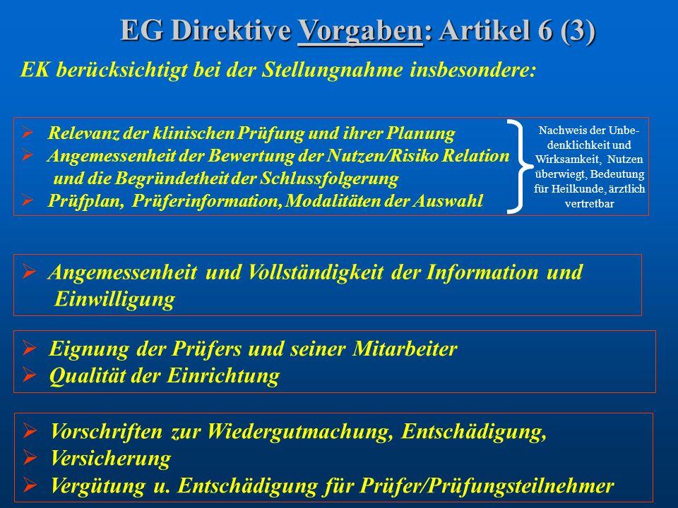EG Direktive Vorgaben: Artikel 6 (3) EK berücksichtigt bei der Stellungnahme insbesondere: Eignung der Prüfers und seiner Mitarbeiter Qualität der Ein