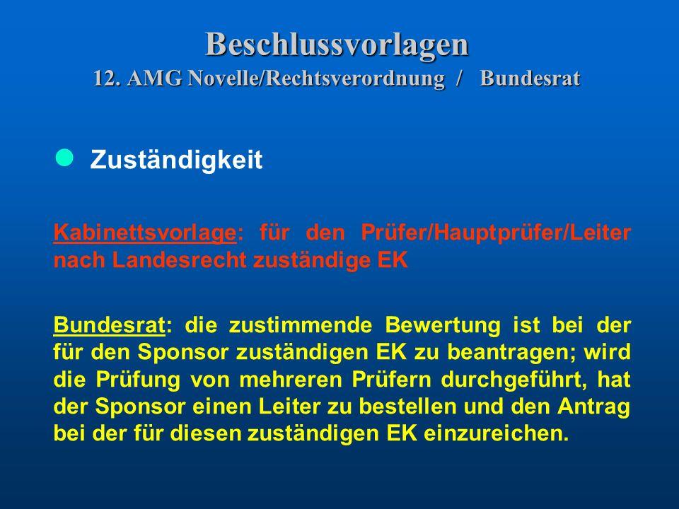 Beschlussvorlagen 12. AMG Novelle/Rechtsverordnung / Bundesrat Zuständigkeit Kabinettsvorlage: für den Prüfer/Hauptprüfer/Leiter nach Landesrecht zust