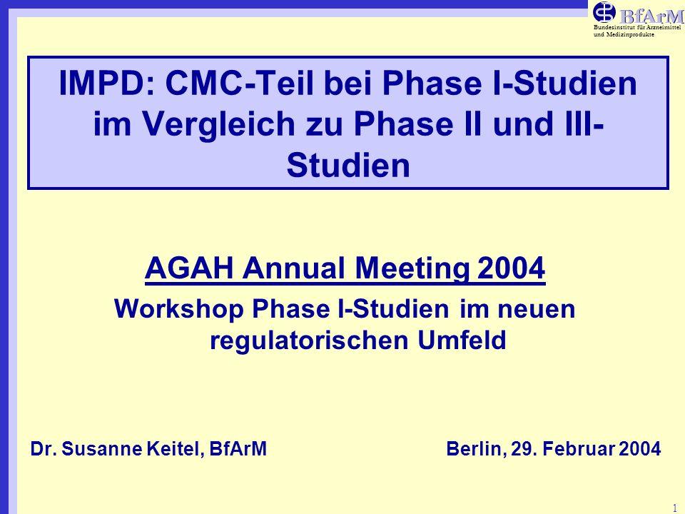 Bundesinstitut für Arzneimittel und Medizinprodukte 1 IMPD: CMC-Teil bei Phase I-Studien im Vergleich zu Phase II und III- Studien AGAH Annual Meeting