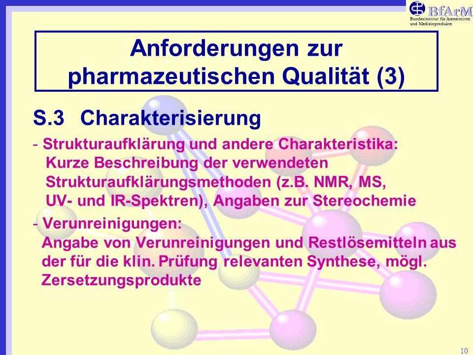 Bundesinstitut für Arzneimittel und Medizinprodukte 10 Anforderungen zur pharmazeutischen Qualität (3) S.3Charakterisierung - Strukturaufklärung und a